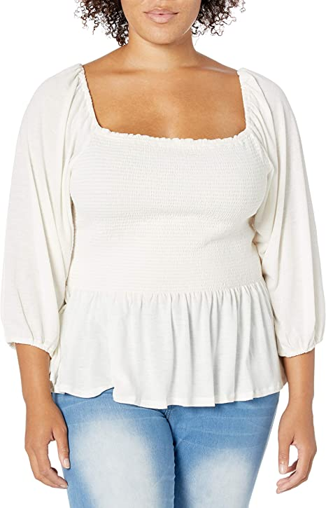 Jessica Simpson Womens Sherrie Square Neck Smocked Top
