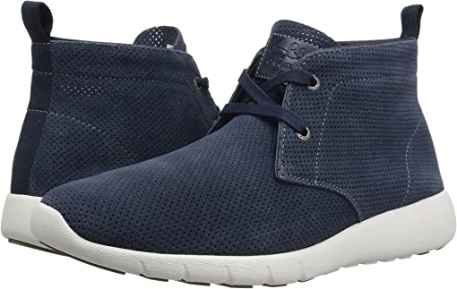 Navy Perforated Suede