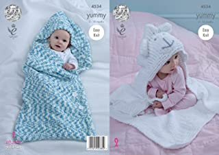King Cole Baby Knitting Pattern Easy Knit Cocoon & Sheep Blanket Yummy Chunky (4534)
