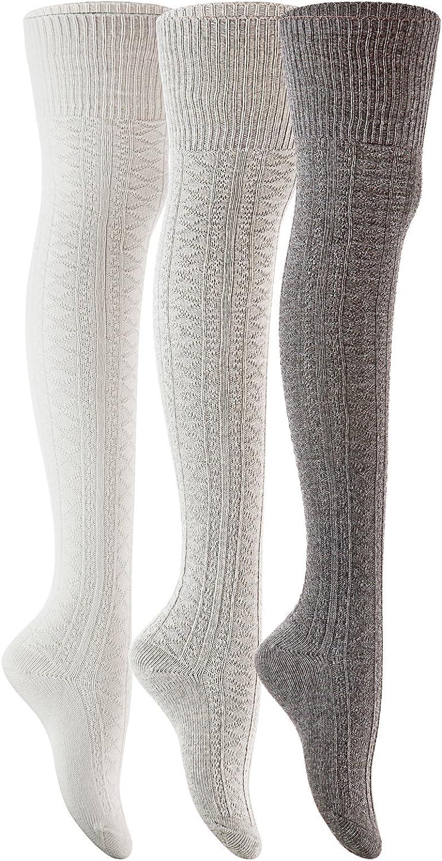 Meso Women's 3 Pairs Over Knee High Thigh High Cotton Socks JMYP1025-03 Size 6-9(Dark Grey, Grey, Cream White)