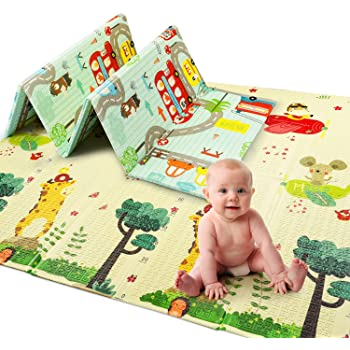 ACSTEP Baby Play Mat, Extra Large Foam Play Mat Non Toxic Crawling Mat for Baby Double Sided Waterproof Thick Folding Floor Mat for Baby Crawling Anti Slip Soft Play Mat for Toddlers Kids Infants