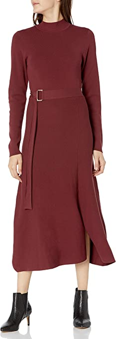 The Drop Women's Odette Long Sleeve Mock-Neck Belted Swing Maxi Dress