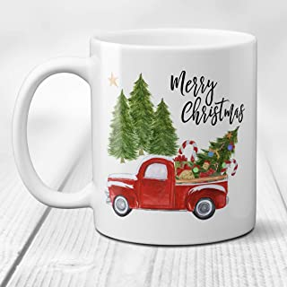Merry Christmas Coffee Mug with Vintage Red Truck and Christmas Tree Ceramic Cup, 11 Ounce or 15 Ounce