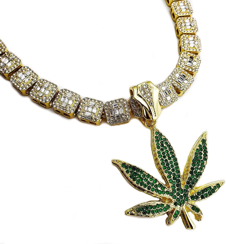 Gold Plated Marijuana Weed Leaf Superior Pendant 18