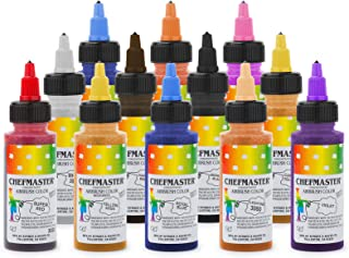 Chefmaster Cake Decorating Food Coloring Airbrush Paint Set - 12 Colors 2oz