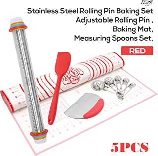 Rolling Pin Baking Supplies Stainless Steel Complete set - Adjustable Rolling Pin, XL Size Mat, Measuring Spoons Set, Scrappers(1 Silicone & 1 Dough Scraper with Measurements) - Red