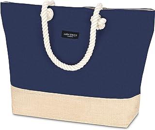LARK STREET Strandtasche Blau Beach Bag für Damen & Herren aus robustem Baumwoll Canvas & Jute - Badetasche mit breiten Ko...