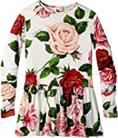 Dolce & Gabbana Kids - Long Sleeve Rose Dress (Little Kids)