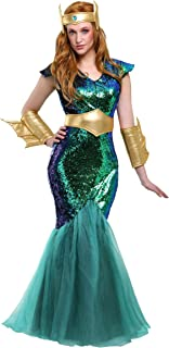 Adult Mermaid Queen Costume Sea Siren Women's Costume