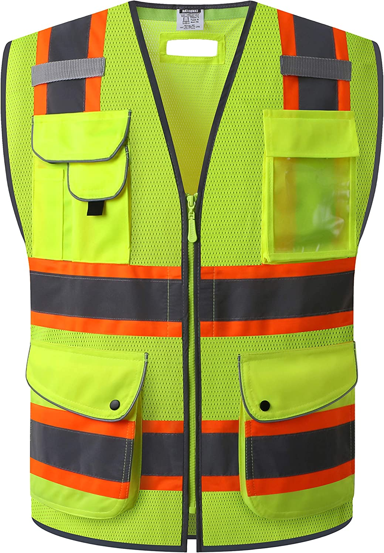 HATAUNKI Class 2 Retro-Reflection Max 87% OFF Safety Duty Las Vegas Mall Heavy Yellow Vests