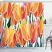 Ambesonne Tulip Shower Curtain, Exquisite Flourishing Tulip Garden with Vivid Colored Endless Petals Eco Illustration, Cloth Fabric Bathroom Decor Set with Hooks, 75 Long, Orange