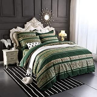 Softta Boho beddding Set Queen Size 3Pcs Bohemian Vintage FloralDuvet Cover Sets Colorful Stripe Damask Paisley Pattern 100% Brushed Cotton 1 Duvet Cover +2 Pillow Shams Green