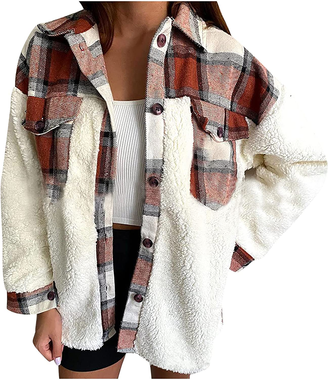 Women's Fashion Winter Warm Coat Plaid Patchwork Button up Long Sleeve Shirt Casual Loose Plush Blouses Top Coat Jacket
