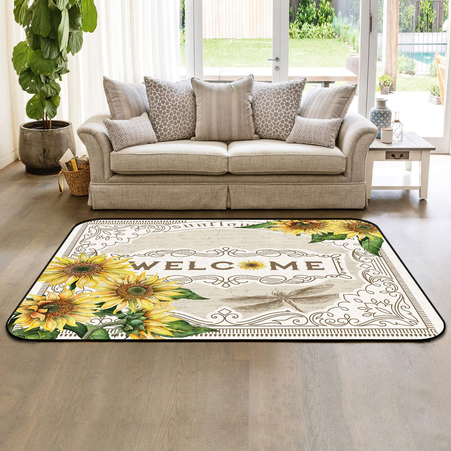 Soft Area Rugs supreme for Bedroom Sunflower 35% OFF Washable Bees Rug Carp Park