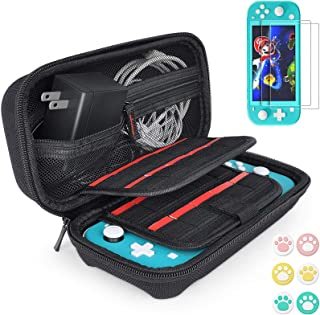Hestia Goods Carrying Case for Nintendo Switch Lite with 2 Pack Screen Protector & 6 Pcs Thumb Grip, 20 Game Cartridges Ha...