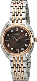 Bulova Women's Analog-Quartz Watch with Stainless-Steel Strap, Two Tone, 14 (Model: 98R230)