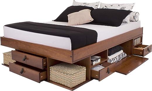 Funktionsbett Bali 160×200 Karamell – Bett mit viel Stauraum und Schubladen, optimal für kleine Schlafzimmer – Modernes Stauraumbett aus Kiefer…