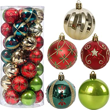 """Christmas Tree Ornaments, 35ct Christmas Ball Decoration Set 2.36"""" Red Green and Gold Christmas Ball Shatterproof Hanging Tre"""