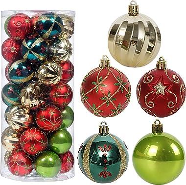 "Christmas Tree Ornaments, 35ct Christmas Ball Decoration Set 2.36"" Red Green and Gold Christmas Ball Shatterproof Hanging"