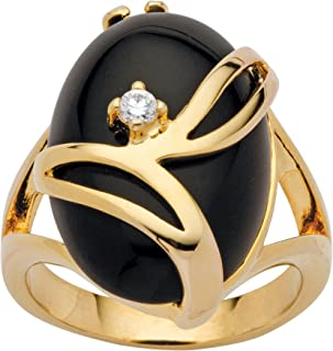 14K Yellow Gold Plated Oval Shaped Natural Black Onyx and Round Crystal Ring