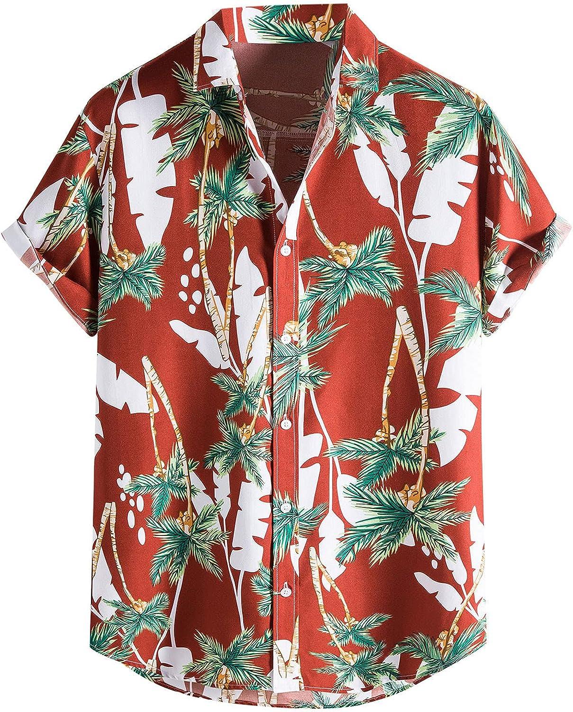 Mens Short Sleeve Hawaiian Shirts Button Down Casual Summer Tops Graphic Printed T Shirt Fashion Beach Party Tees