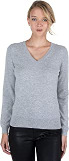 Women's 100% Pure Cashmere Long Sleeve Pullover V Neck Sweater