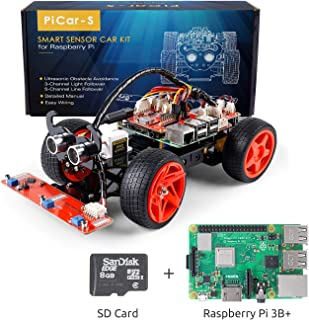 SunFounder Raspberry Pi Smart Robot Car Kit with RPi 3 Model B+ and SD, PiCar-S Block Based Graphical Visual Programming Language Line Following Ultrasonic Sensor Light Following Module Electronic Toy