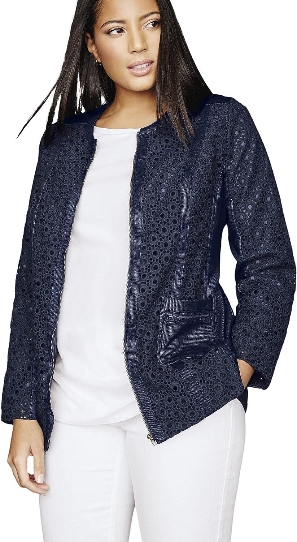 Jessica London Women's Plus Size Eyelet Jacket Cotton Spring Summer Jean Detail