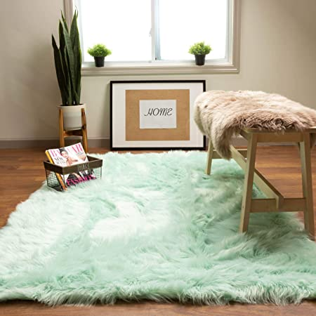 Green Mint Shaggy Rug Small X Large Trendy Thick Pile Modern Carpet Soft Touch