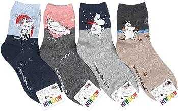 Women Moomin Cartoon Funny Crew Socks - - One Size
