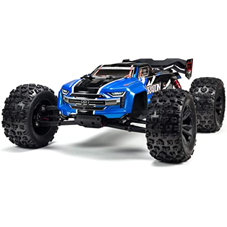 Amazon Com Arrma Kraton 1 8 Scale Blx Brushless 4wd Rc Speed Monster Truck Rtr 6s Lipo Battery Required With 2 4ghz Stx2 Radio Ara106040t2 Blue Toys Games
