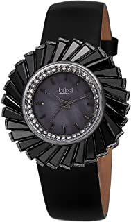 Burgi Women's Bur114Bk Swiss Quartz Crystal Accented Mother-Of-Pearl Silver Black Leather Strap Watch, Analog Display