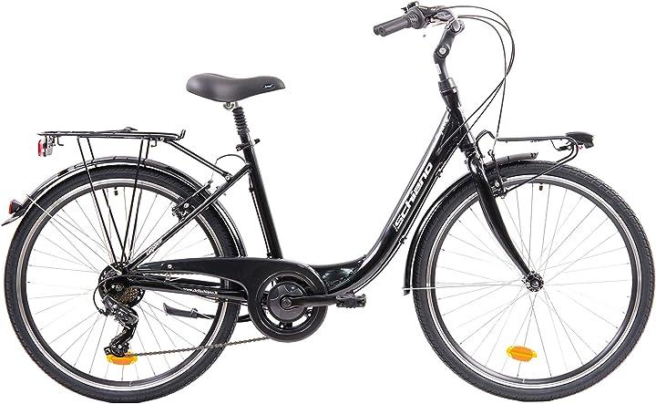 Bici monotubo donna, nero-bianco, 26`` f.lli schiano elegance B088ZV6WD6
