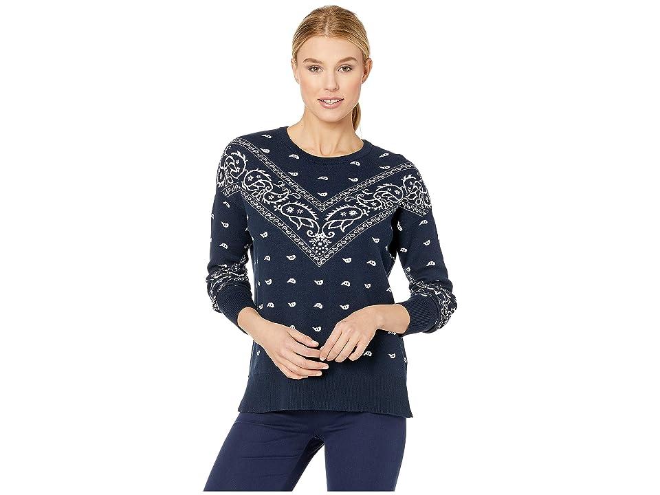 Lucky Brand Bandana Print Sweater (Navy Multi) Women