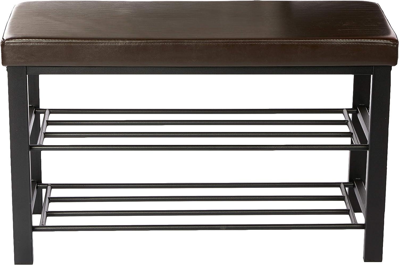 marron Relaxdays Banc de rangement /à chaussures H x l x P 49 x 81 x 31 cm meuble assise tabouret en similicuir 2 niveaux pour 6-8 paires par /étages