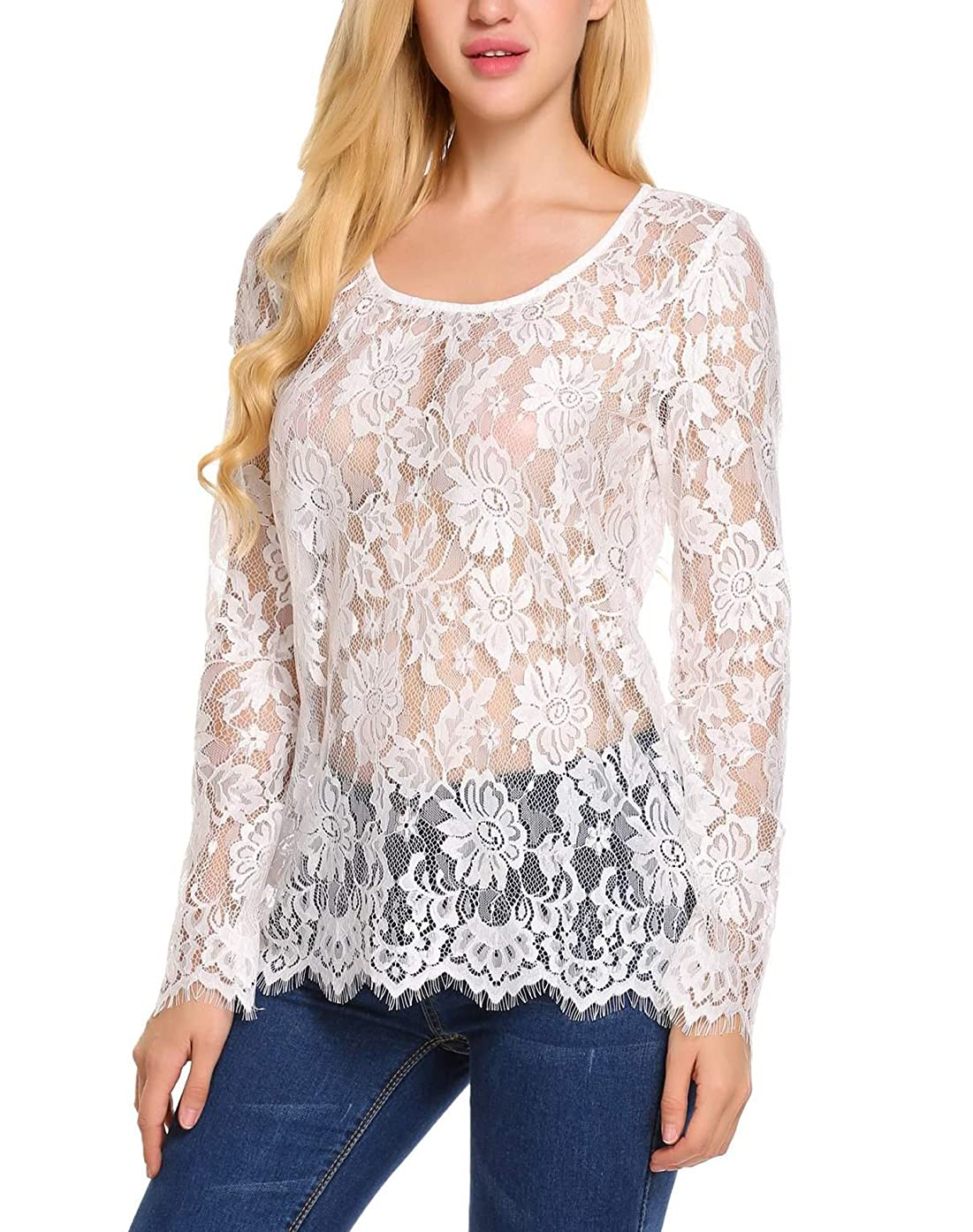 Zeagoo Women's Long Sleeve Sexy Sheer Floral Lace Blouse Top S-3XL