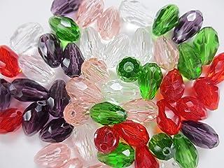 50個セット ティアドロップ型 ガラスビーズ カラーMIX 11mm アクセサリー材料 ハンドメイドパーツ  ヒューイ雑貨