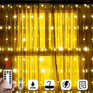 LightsEtc 8 Modes 300 LED Window Curtain String Lights USB Powered Fairy Light with Remote Copper Wire Firefly Twinkle Light Indoor Outdoor Decorative Lights for Bedroom Wedding Home Garden Wall Decor