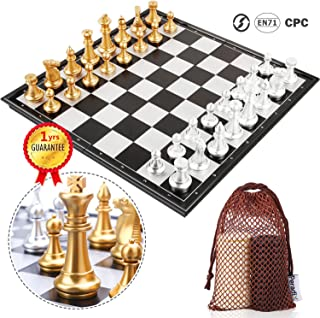 Peradix Chess Checkers Set 2 in 1, Magnetic Chess Pieces with 3 Storage Bags, Portable Travel Folding Board Game, 14.02