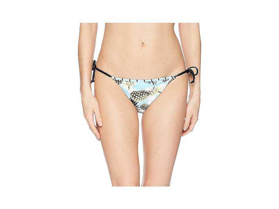 THE BIKINI LAB Pineapple Playa Reversible String Tie Hipster Bottom (Aqua) Women