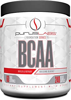 BCAA Capsules by Purus Labs Foundation Series | 2:1:1 Leucine, Valine, Isoleucine | for Recovery, Endurance, Strength and Muscle Building | 240 Capsules (60 Servings)