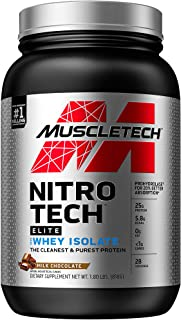 Whey Protein Isolate, MuscleTech Nitro-Tech Elite 100% Whey Isolate Protein Powder, Whey Protein Powder for Women & Men, C...