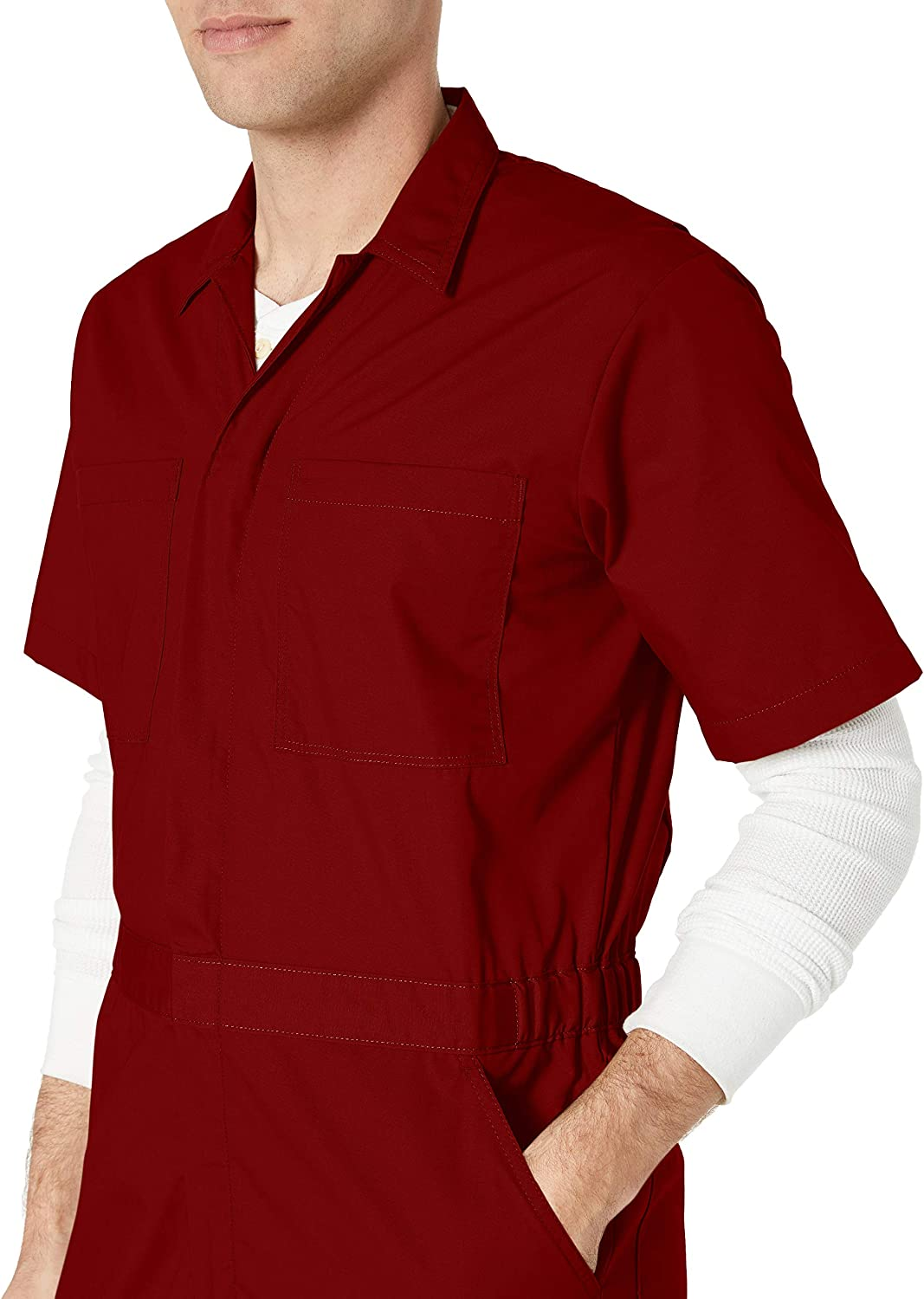 Essentials Mens Stain /& Wrinkle-Resistant Short-Sleeve Coverall