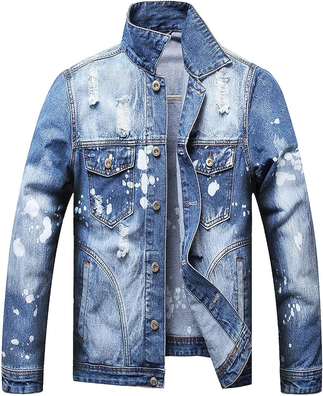 Denim Jacket for Men Hole Loose Collar Pocket Top Button Down Blouse Casual Denim Coat Long Sleeve