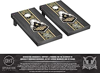 Victory Tailgate Regulation NCAA Operation Hat Trick Onyx Stained Stripe Series Cornhole Board Set - 2 Boards, 8 Bags - Multiple Teams Available