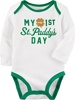 Unisex Baby Long-Sleeve St. Patrick's Day Bodysuit (3 Months, White)