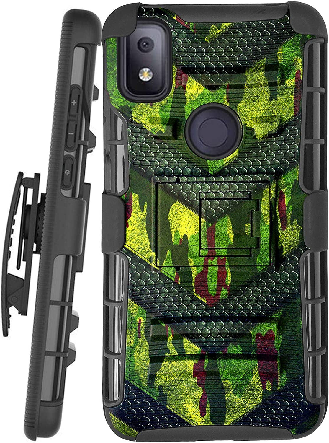 DALUX Hybrid Kickstand Holster Phone Case Compatible with T-Mobile REVVL 4 (2020) - Green Camo Badge