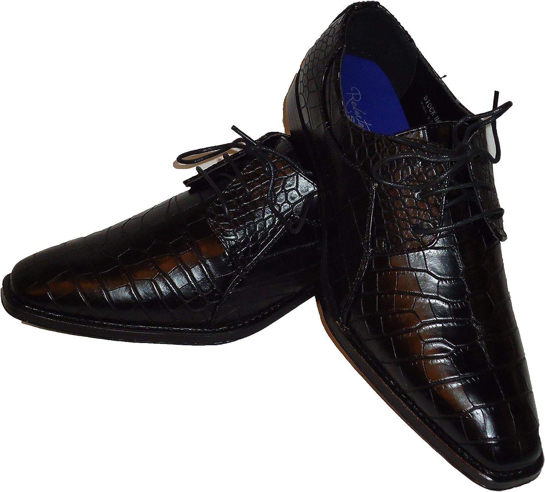 Roberto Chillini 6563 Mens Black Gator Look Oxford Dress Shoes