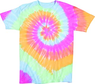 Rainbow Swirly Multi-Spiral Unisex Adult Tie Dye T-Shirt Tee