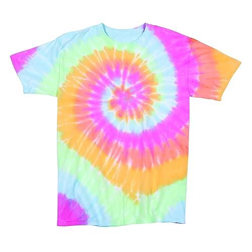 f927d14eddc Rainbow Swirly Multi-Spiral Unisex Adult Tie Dye T-Shirt Tee